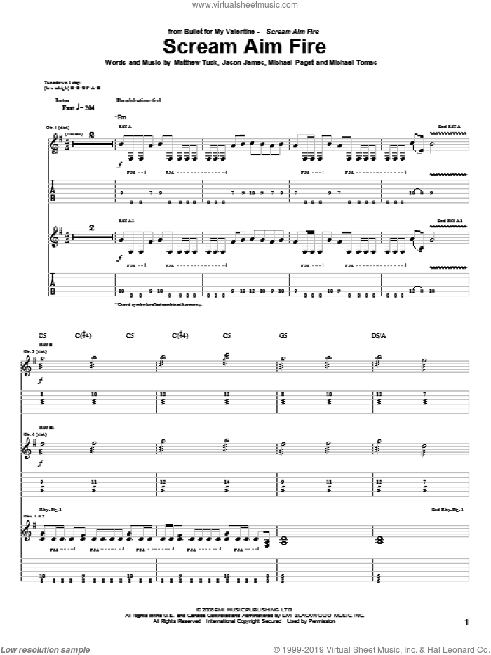 Scream Aim Fire sheet music for guitar (tablature) by Bullet For My Valentine, Jason James, Matthew Tuck, Michael Paget and Michael Tomas, intermediate