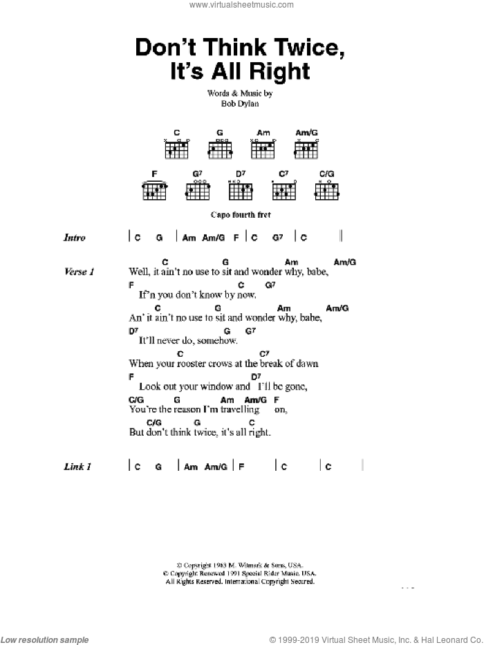 Don't Think Twice, It's All Right sheet music for guitar (chords) by Bob Dylan, intermediate skill level