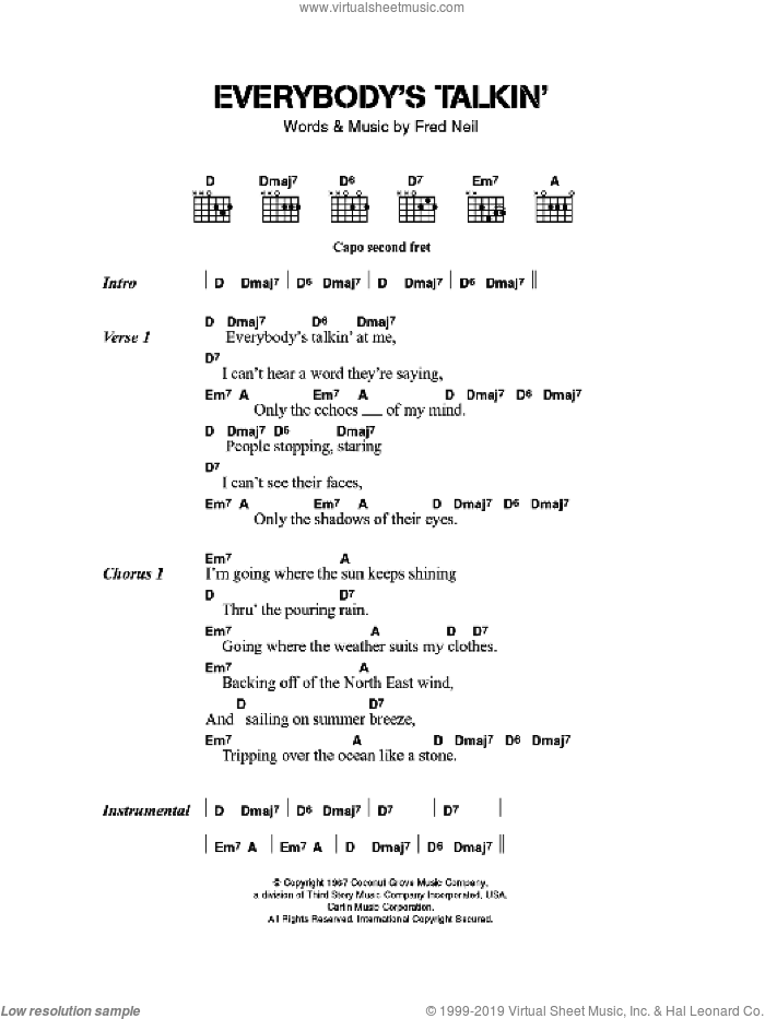Everybody's Talkin' sheet music for guitar (chords) by The Beautiful South and Fred Neil, intermediate skill level