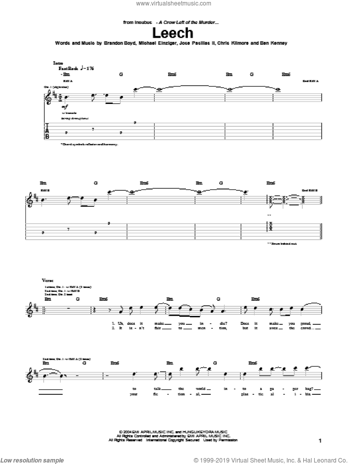 Leech sheet music for guitar (tablature) by Incubus, intermediate guitar (tablature). Score Image Preview.