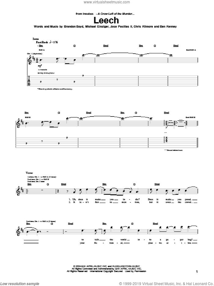 Leech sheet music for guitar (tablature) by Incubus, Brandon Boyd, Jose Pasillas II and Michael Einziger, intermediate skill level