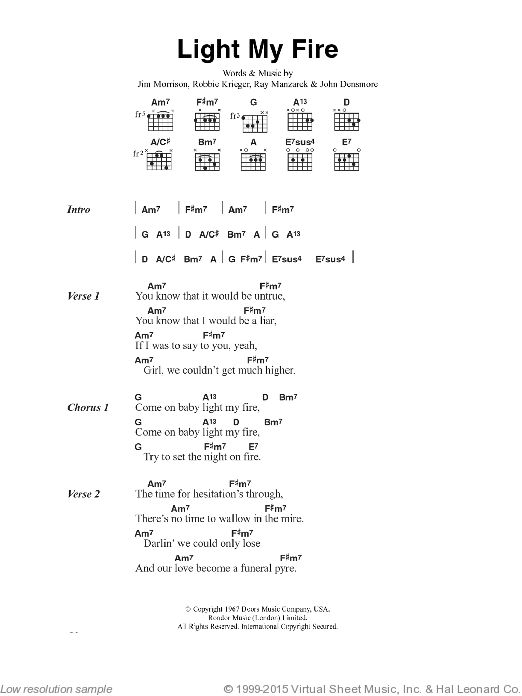 Light My Fire sheet music for guitar (chords) by Jim Morrison