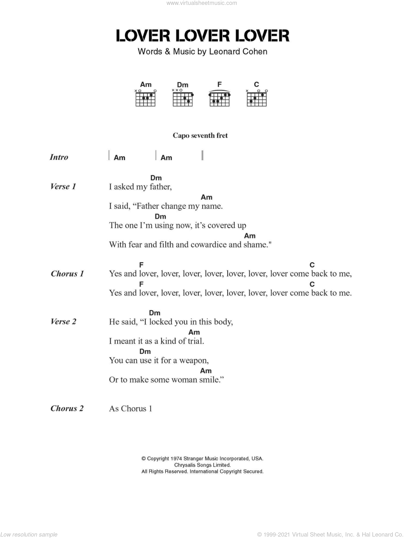 Lover Lover Lover sheet music for guitar (chords) by Leonard Cohen, intermediate. Score Image Preview.