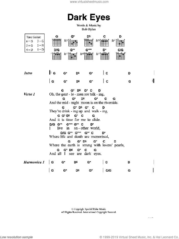 Dark Eyes sheet music for guitar (chords) by Bob Dylan, intermediate skill level