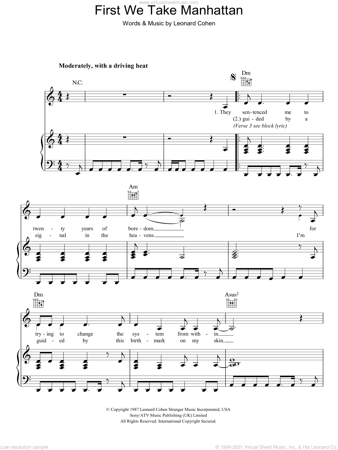 First We Take Manhattan sheet music for voice, piano or guitar by Leonard Cohen, intermediate skill level