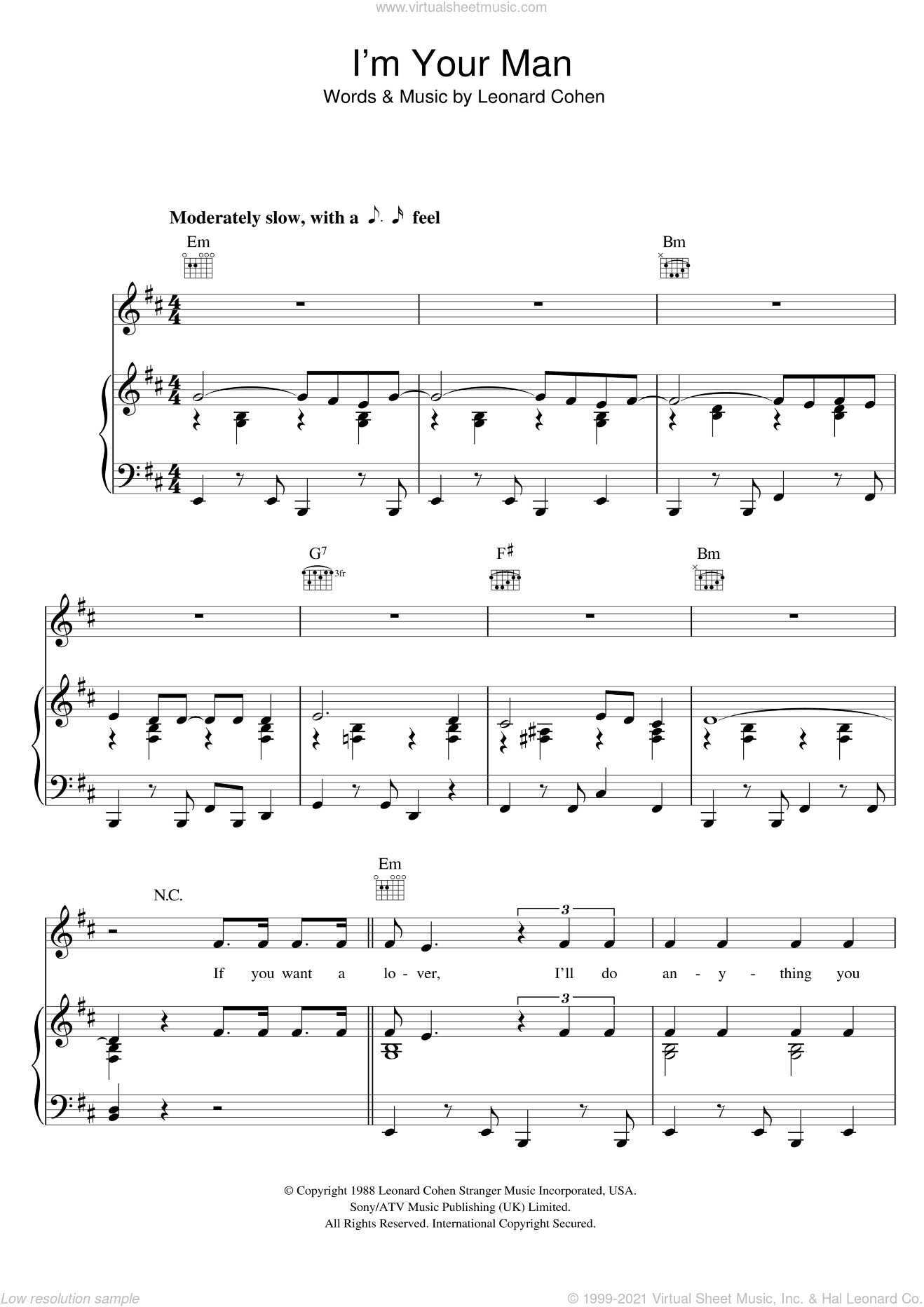I'm Your Man sheet music for voice, piano or guitar by Leonard Cohen. Score Image Preview.