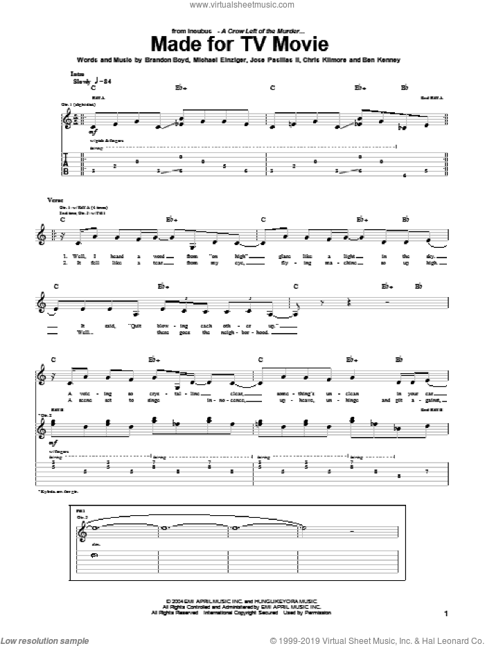 Made For TV Movie sheet music for guitar (tablature) by Michael Einziger and Incubus. Score Image Preview.