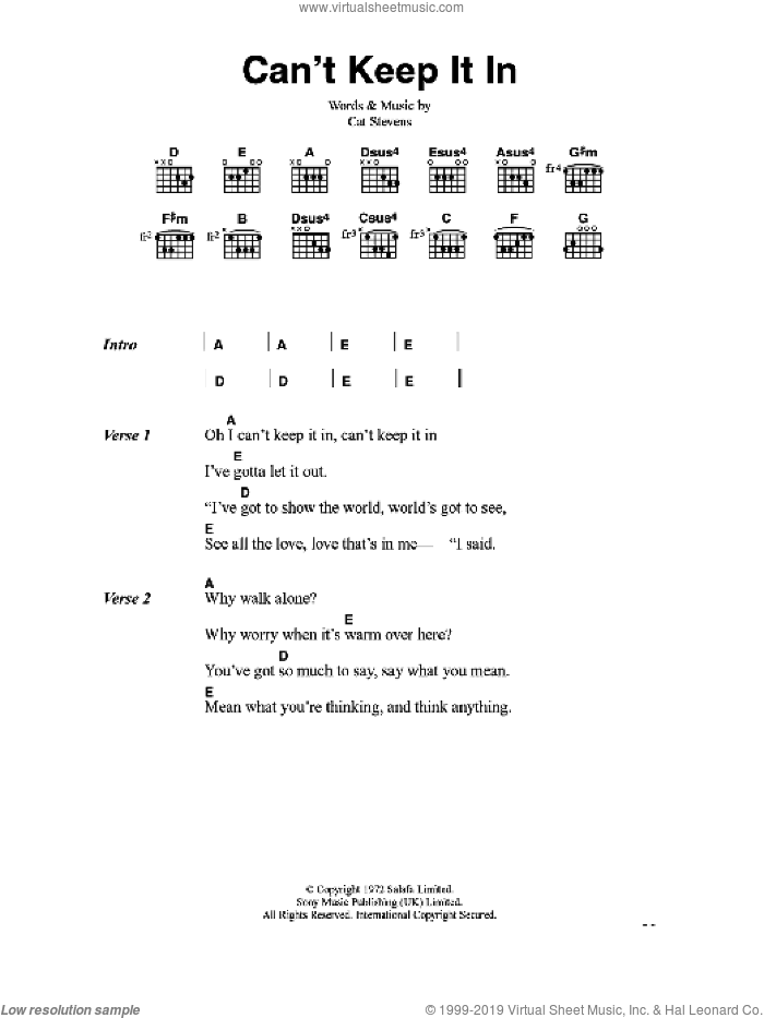 Can't Keep It In sheet music for guitar (chords) by Cat Stevens. Score Image Preview.