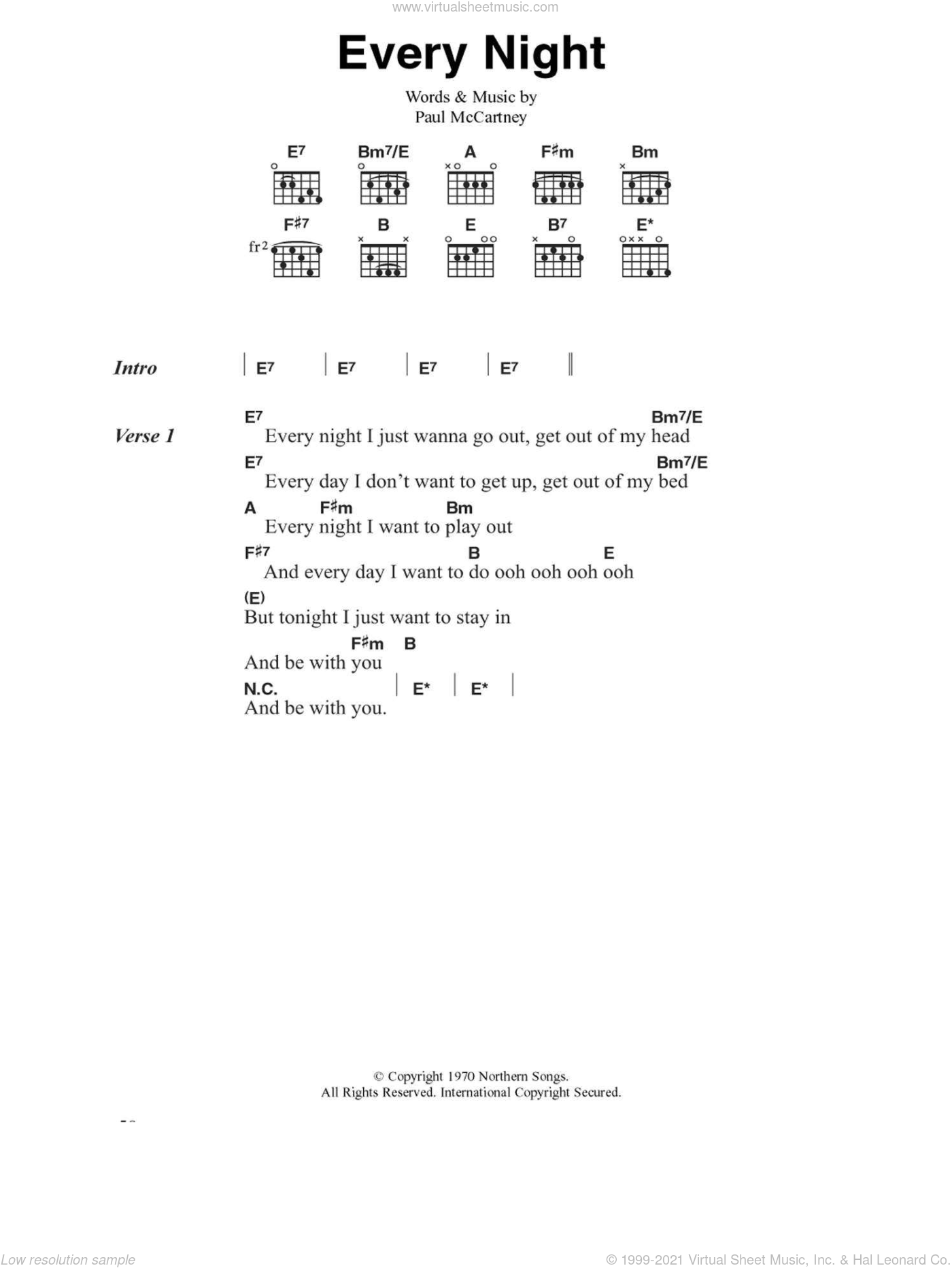 Every Night sheet music for guitar (chords) by Paul McCartney, intermediate. Score Image Preview.