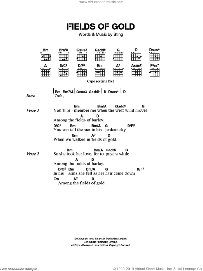 Fields Of Gold sheet music for guitar (chords) by Eva Cassidy and Sting. Score Image Preview.