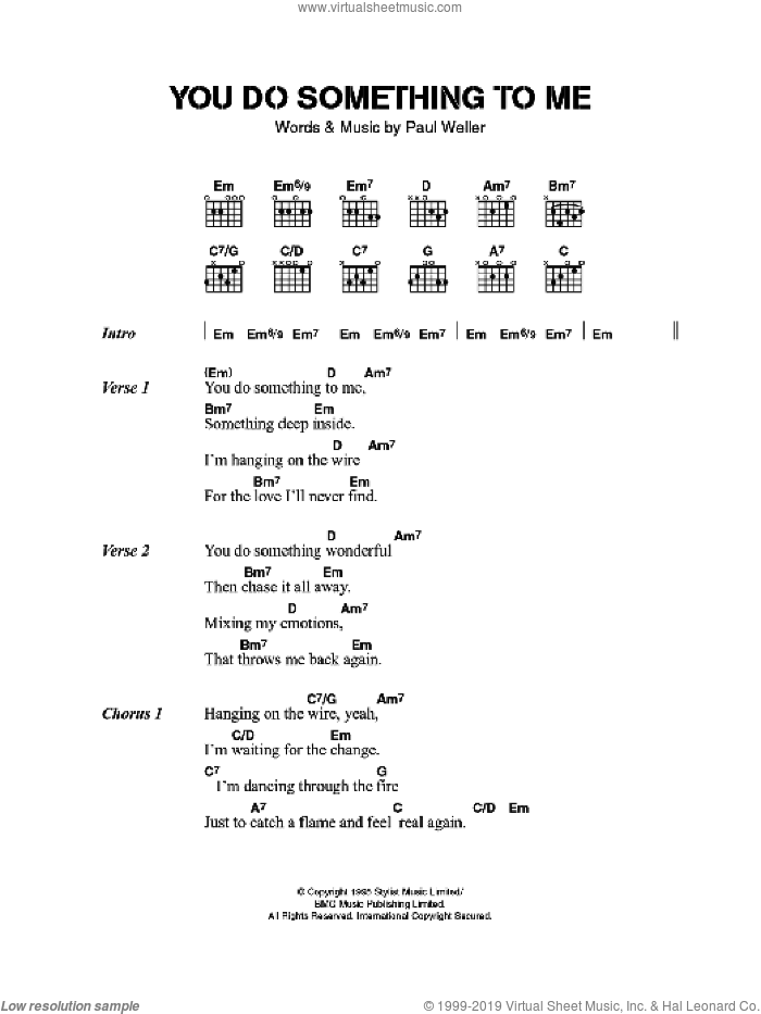 You Do Something To Me sheet music for guitar (chords) by Paul Weller, intermediate skill level