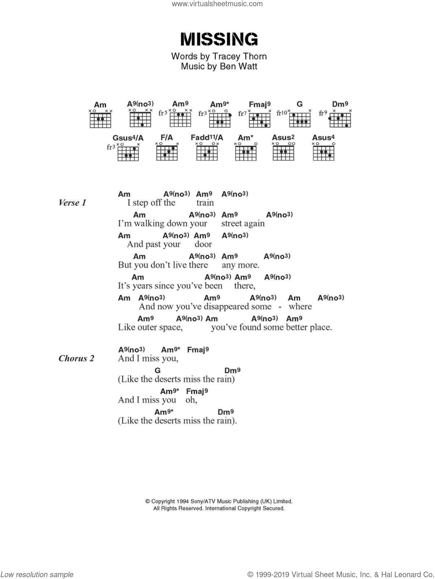 Missing sheet music for guitar (chords) by Everything But The Girl, Ben Watt and Tracey Thorn, intermediate skill level