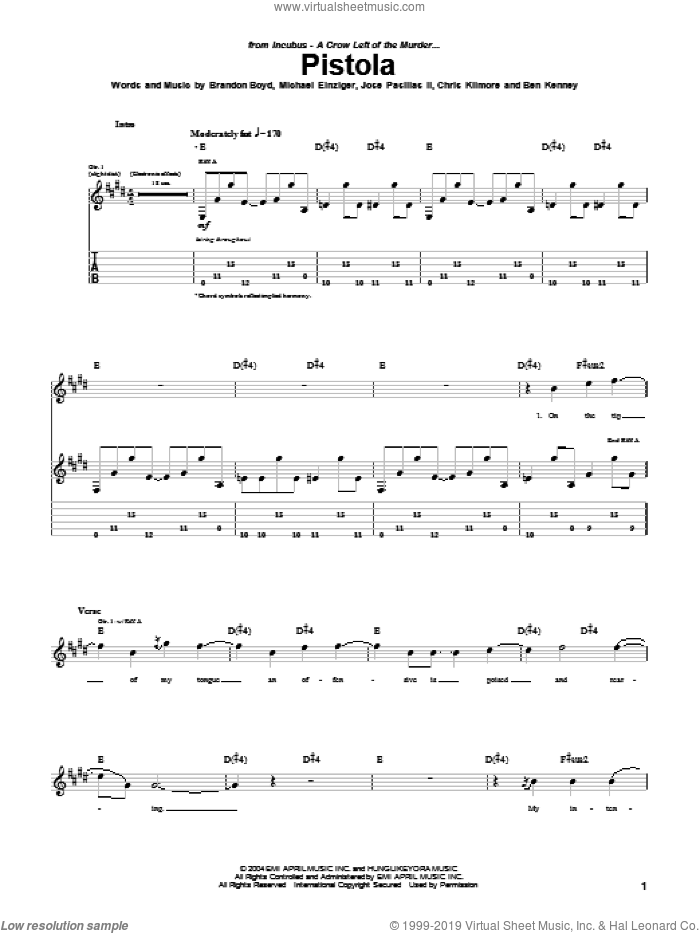 Pistola sheet music for guitar (tablature) by Incubus, Brandon Boyd, Jose Pasillas II and Michael Einziger, intermediate skill level