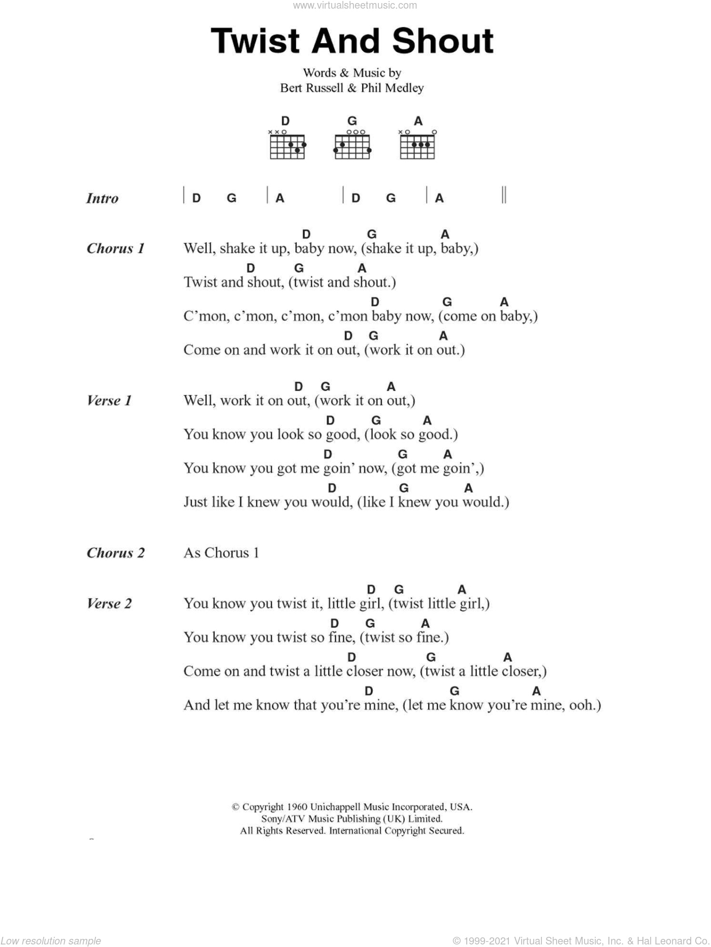 Twist And Shout sheet music for guitar (chords) by The Beatles, Bert Russell and Phil Medley, intermediate. Score Image Preview.