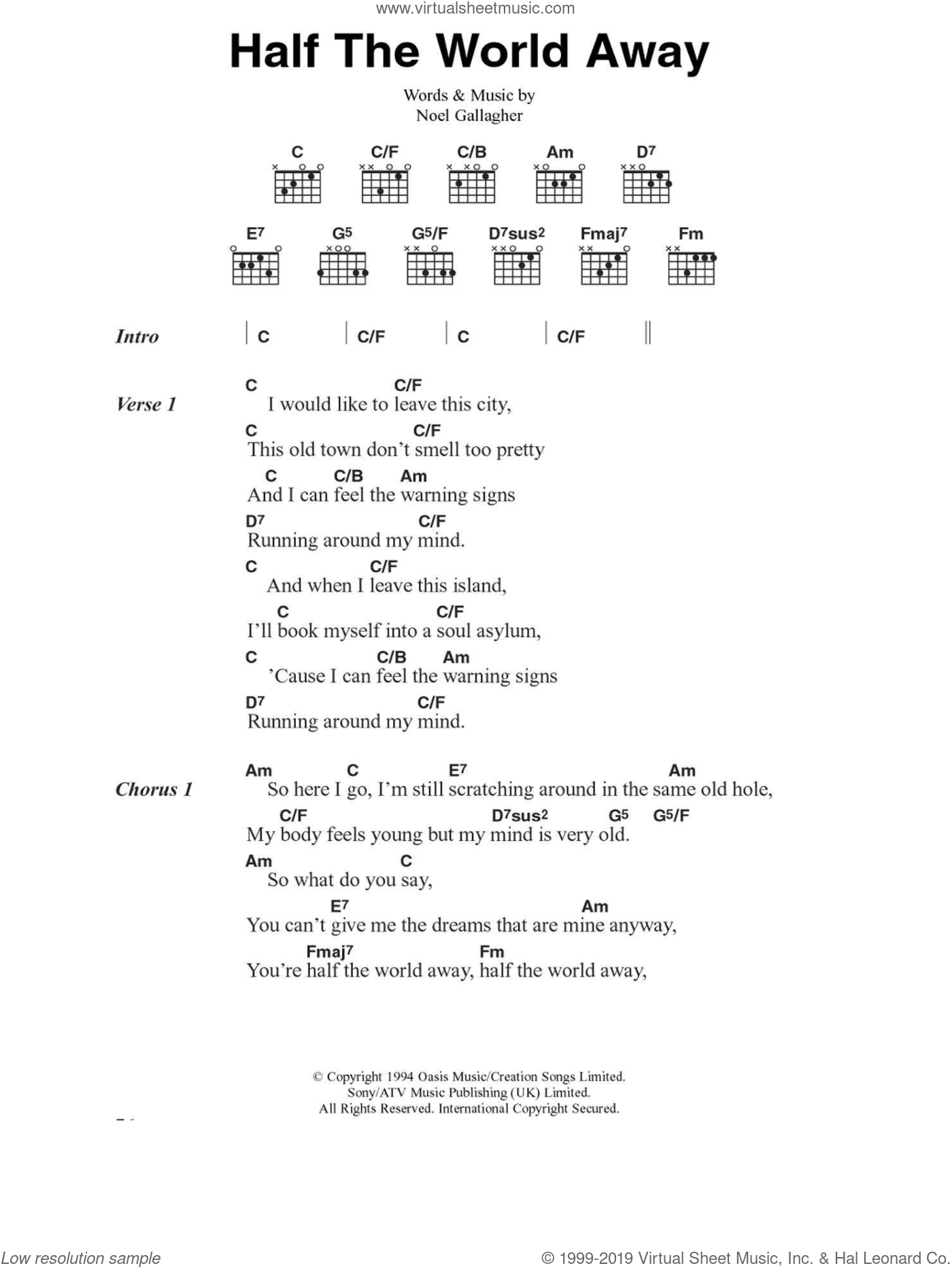 Half The World Away sheet music for guitar (chords, lyrics, melody) by Noel Gallagher