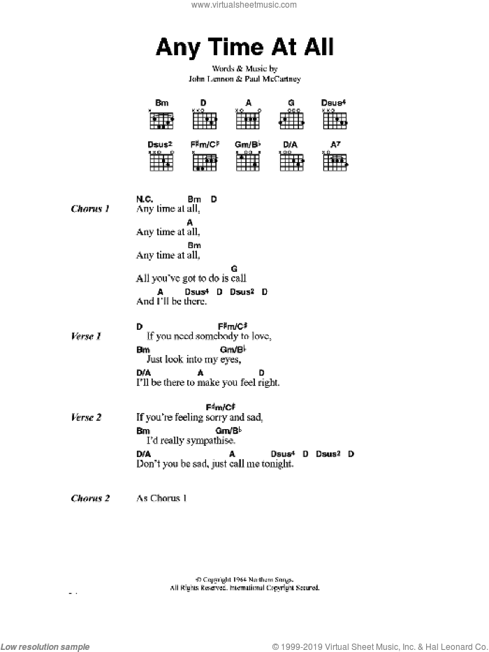 Any Time At All sheet music for guitar (chords) by The Beatles, John Lennon and Paul McCartney, intermediate guitar (chords). Score Image Preview.