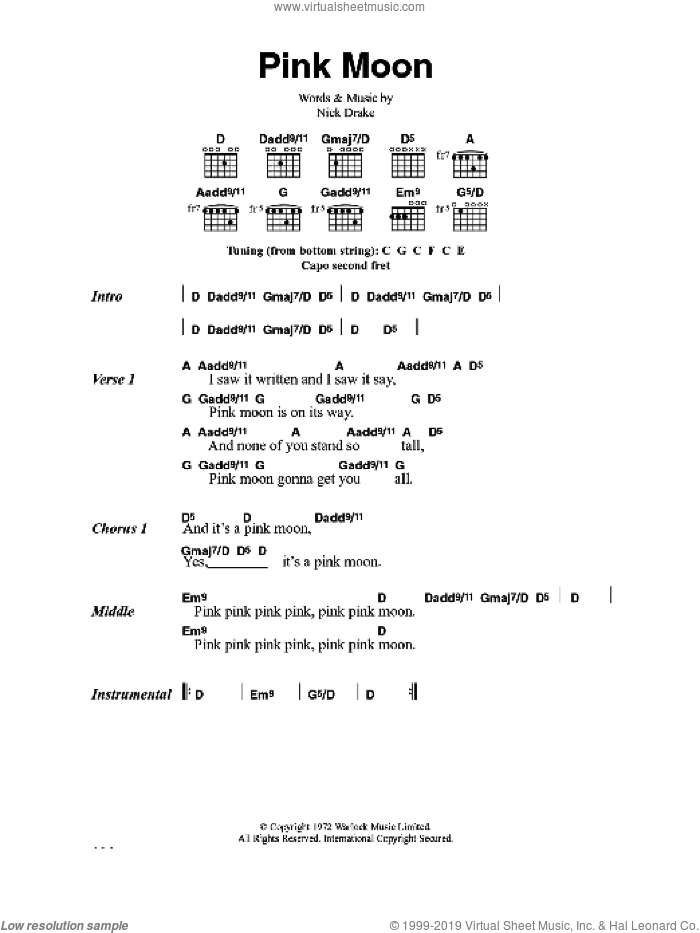 Pink Moon sheet music for guitar (chords) by Nick Drake, intermediate. Score Image Preview.
