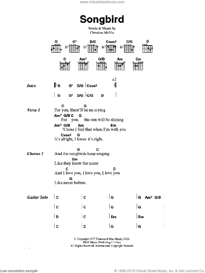 Songbird sheet music for guitar (chords) by Eva Cassidy and Christine McVie, intermediate