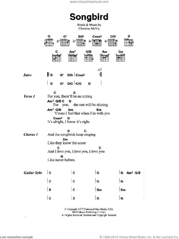 Songbird sheet music for guitar (chords) by Eva Cassidy and Christine McVie, intermediate skill level