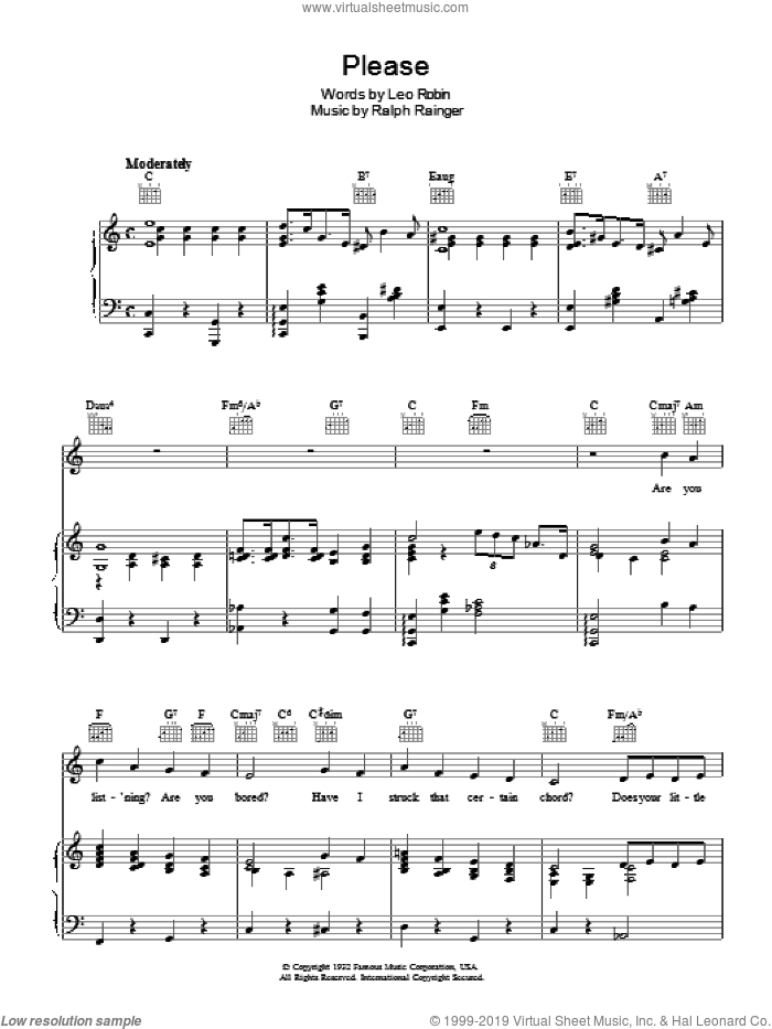 Please sheet music for voice, piano or guitar by Ralph Rainger and Leo Robin. Score Image Preview.