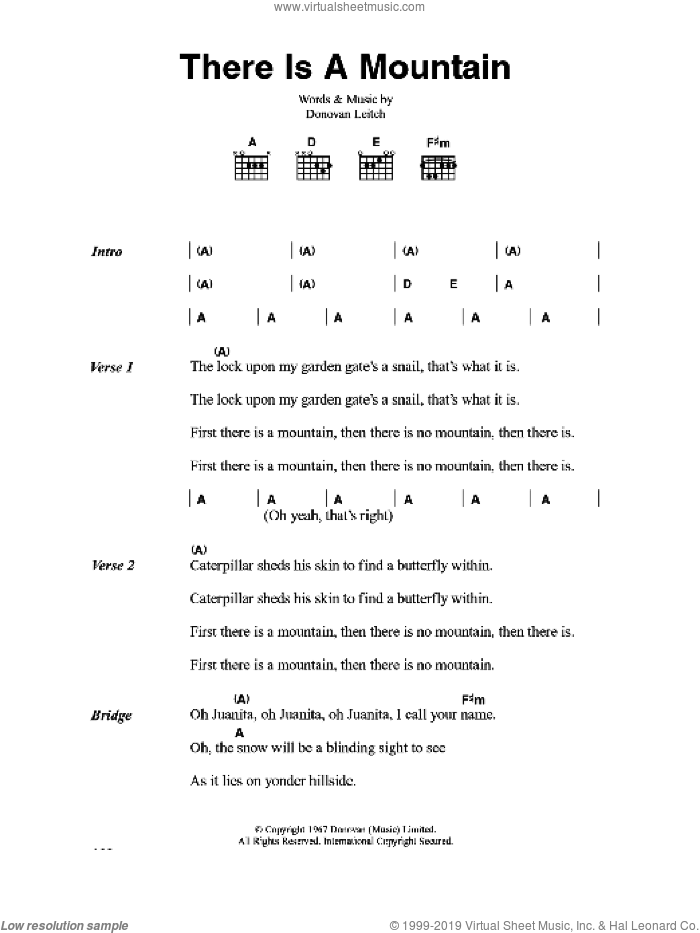 There Is A Mountain sheet music for guitar (chords) by Walter Donovan. Score Image Preview.