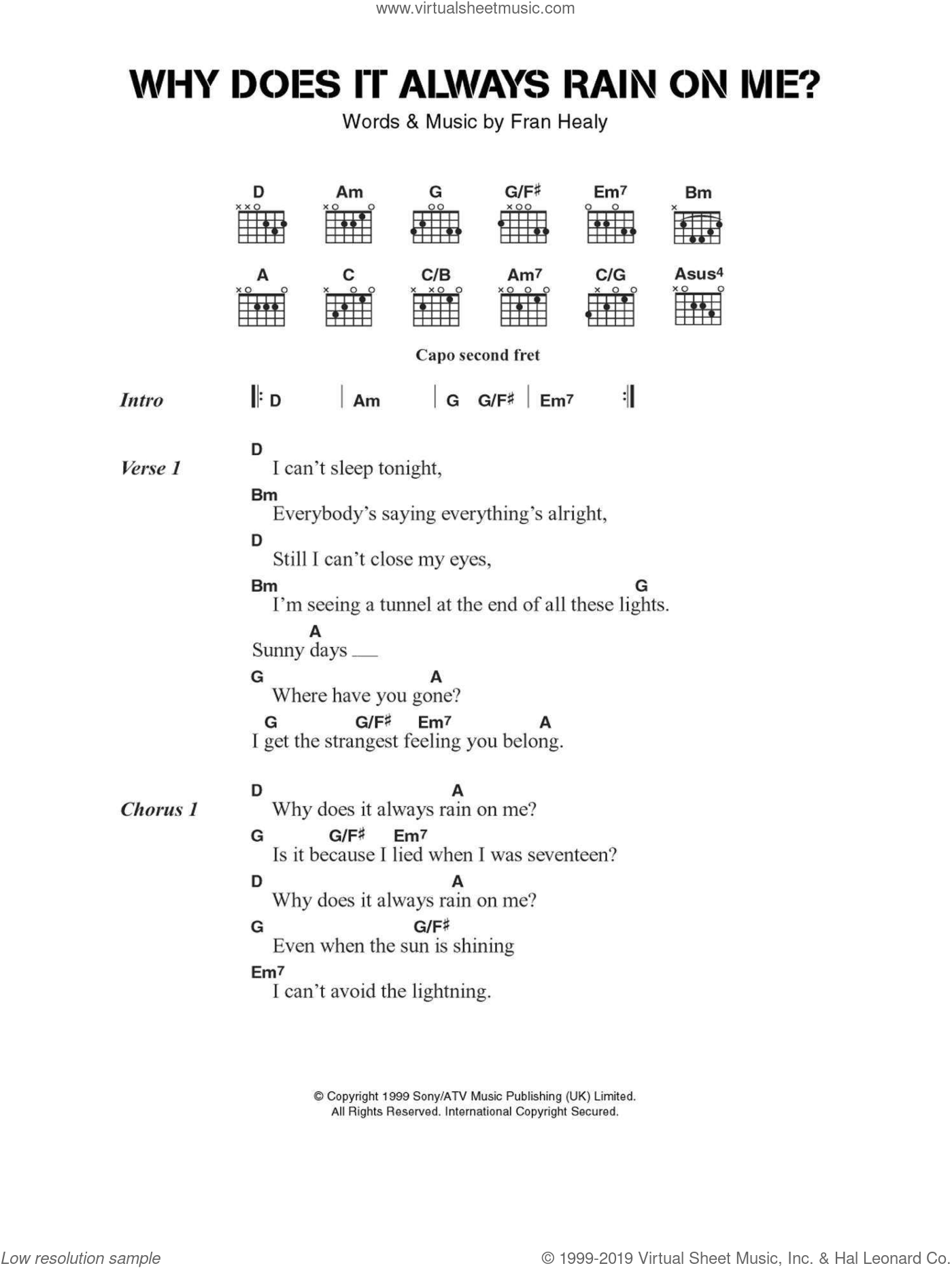 Why Does It Always Rain On Me? sheet music for guitar (chords) by Merle Travis and Fran Healy, intermediate skill level