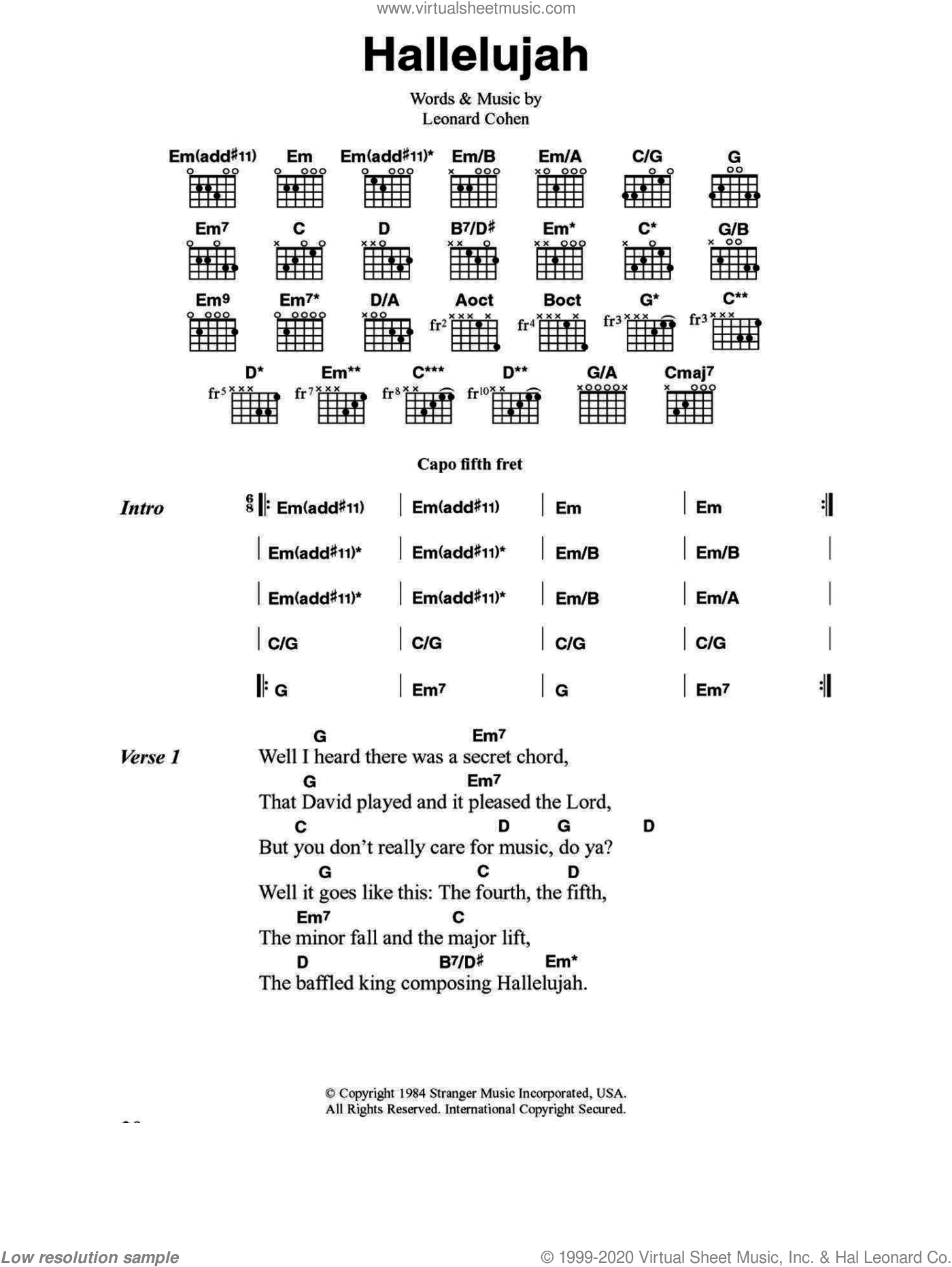 Buckley Hallelujah Sheet Music For Guitar Chords V2