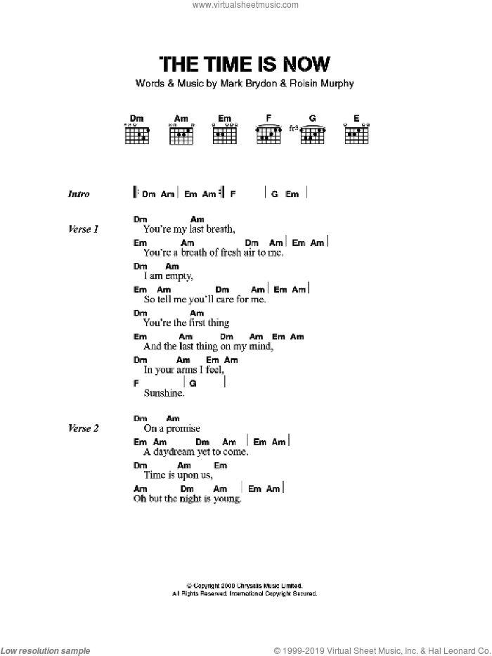 The Time Is Now sheet music for guitar (chords) by Moloko, Mark Brydon and Roisin Murphy, intermediate skill level