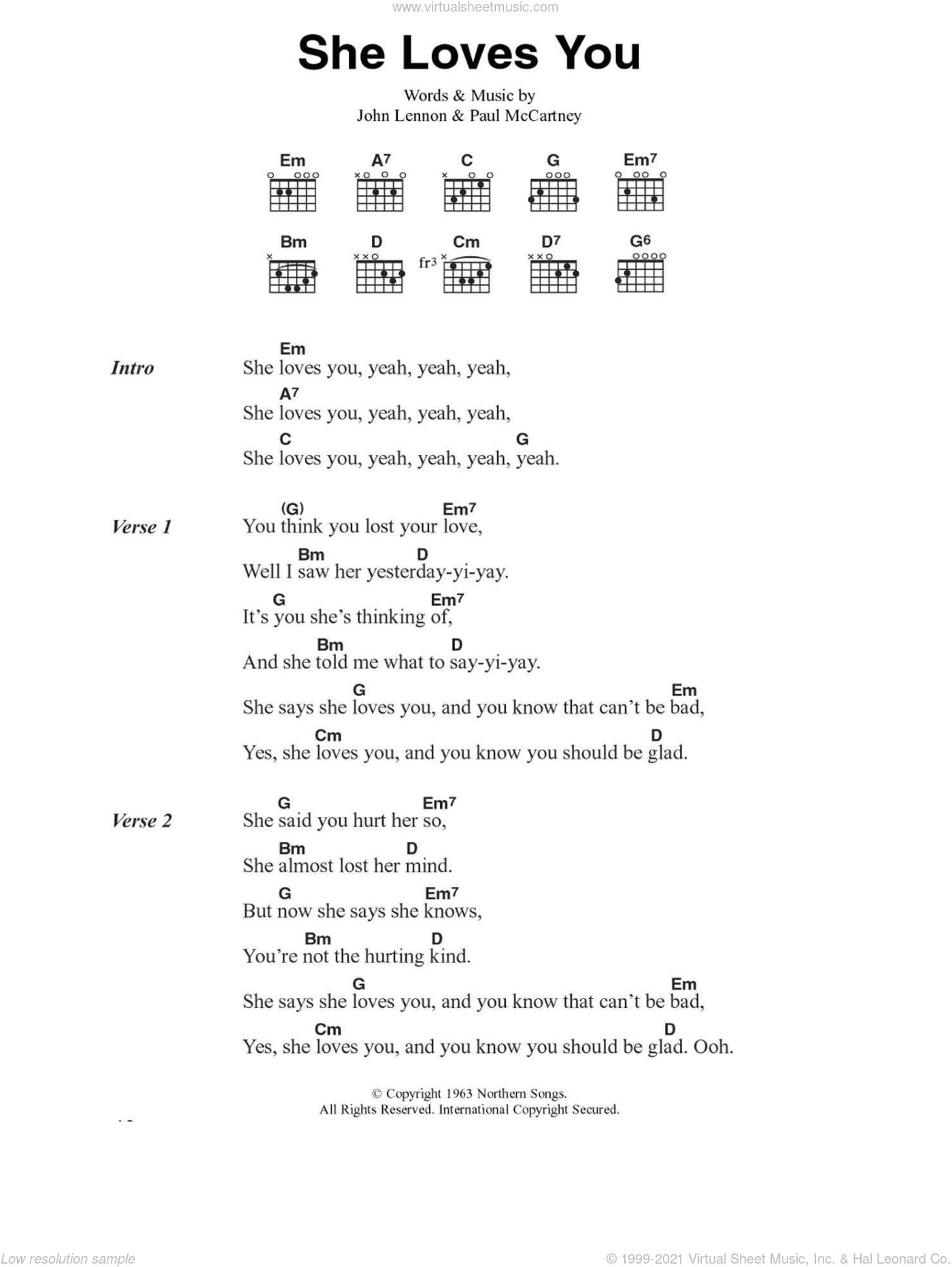 She Loves You sheet music for guitar (chords) by The Beatles, John Lennon and Paul McCartney. Score Image Preview.