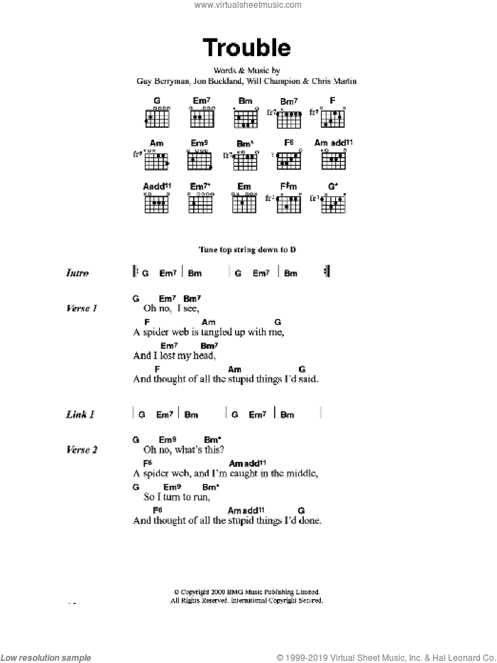 Trouble sheet music for guitar (chords) by Coldplay, Chris Martin, Guy Berryman, Jon Buckland and Will Champion, intermediate skill level