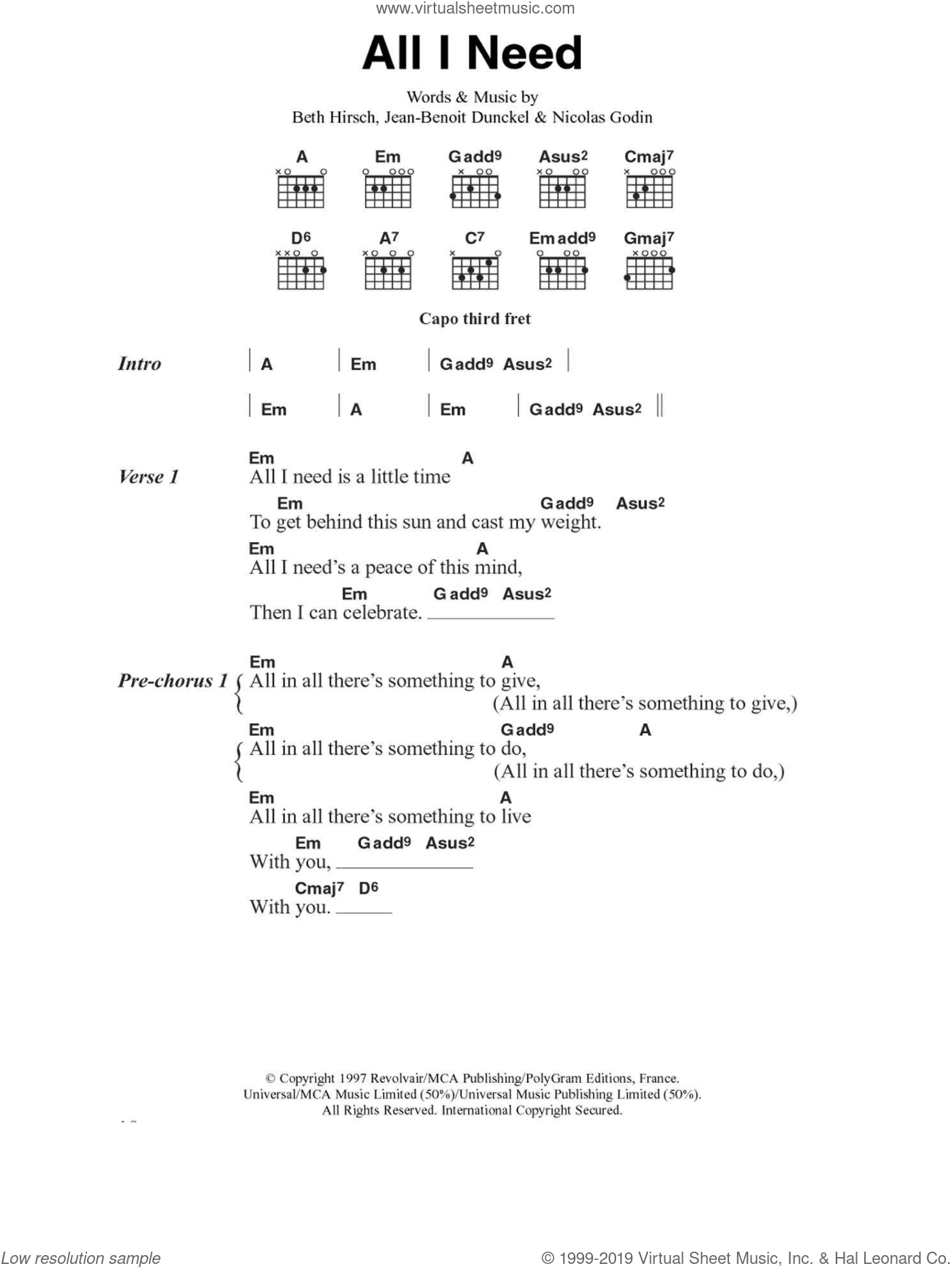 All I Need sheet music for guitar (chords) by Air, Beth Hirsch, Jean-Benoit Dunckel and Nicolas Godin, intermediate skill level