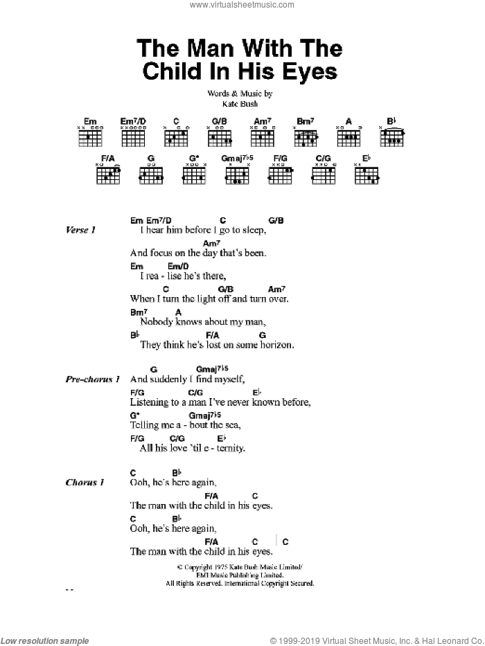 The Man With The Child In His Eyes sheet music for guitar (chords) by Kate Bush, intermediate skill level