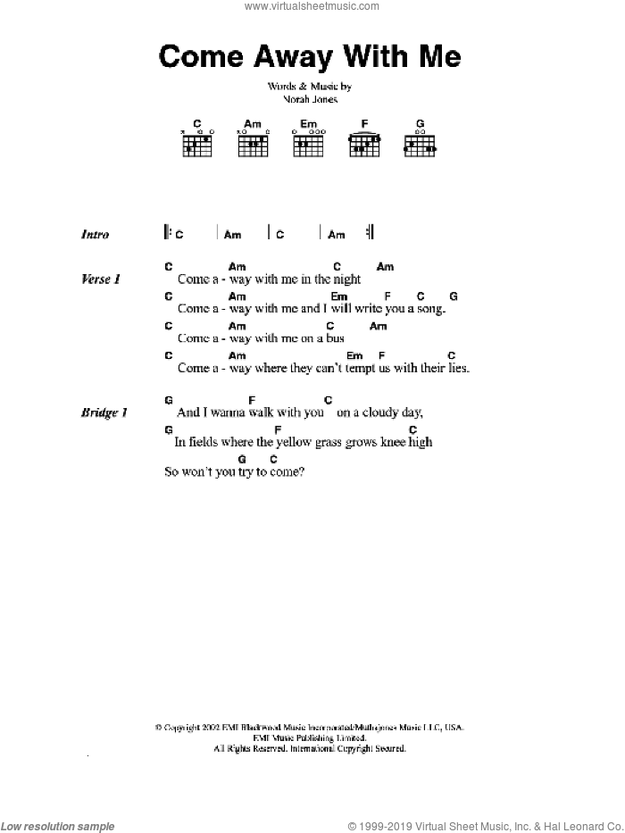 Come Away With Me sheet music for guitar (chords) by Norah Jones, intermediate skill level