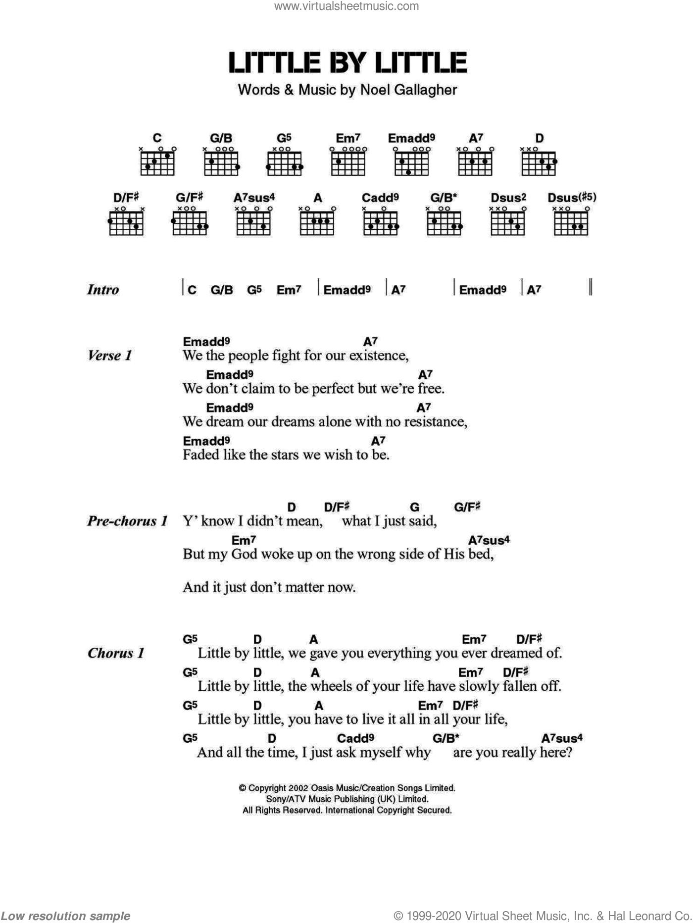 Oasis - Little By Little sheet music for guitar (chords) v2