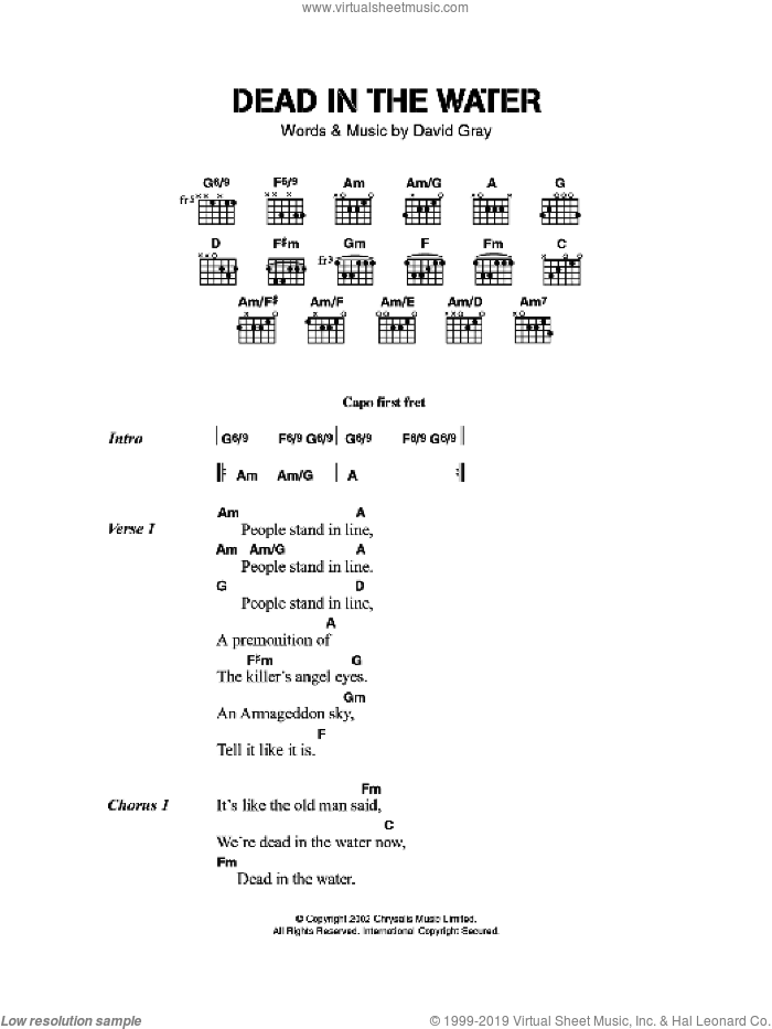 Dead In The Water sheet music for guitar (chords) by David Gray. Score Image Preview.