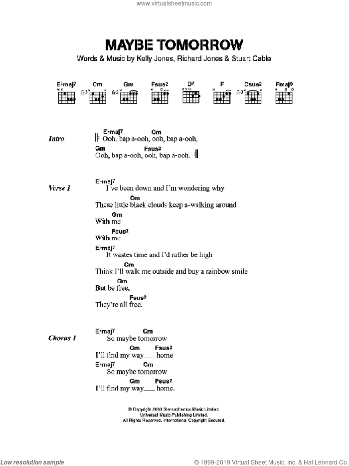 Maybe Tomorrow sheet music for guitar (chords) by Stereophonics, Kelly Jones, RICHARD JONES and Stuart Cable, intermediate skill level