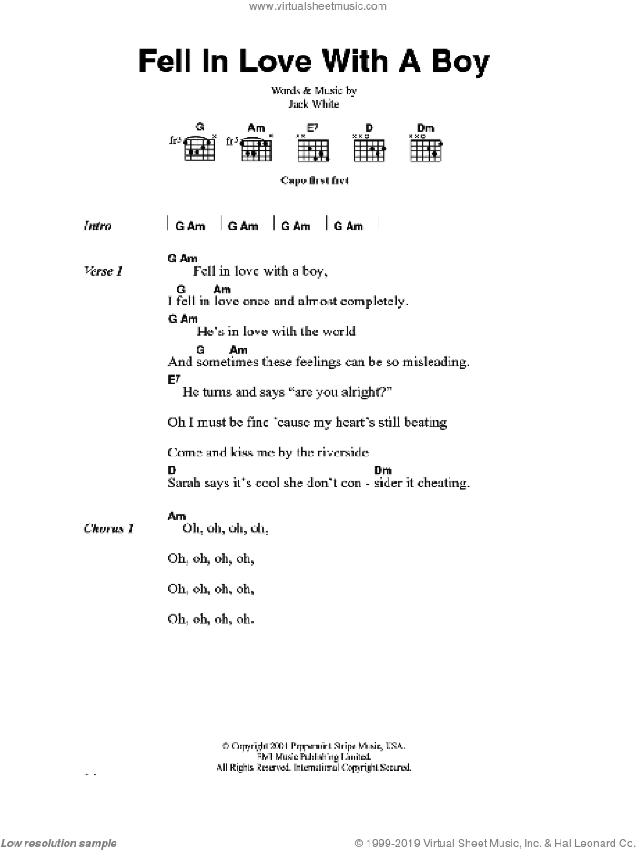 Fell In Love With A Boy sheet music for guitar (chords) by Joss Stone and Jack White, intermediate skill level