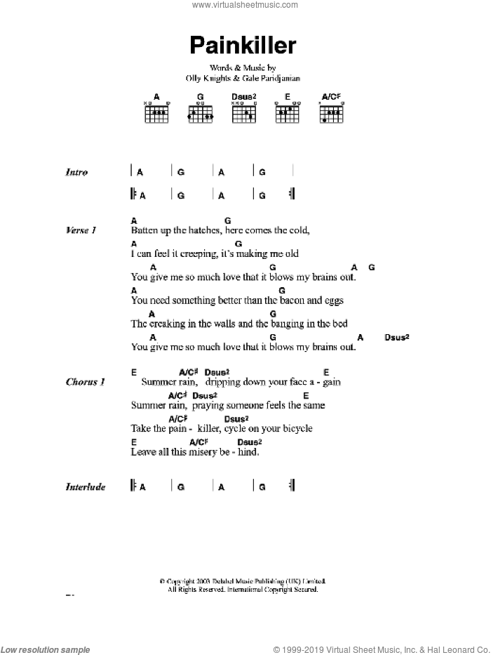 Pain Killer sheet music for guitar (chords) by Turin Brakes, Gale Paridjanian and Olly Knights, intermediate skill level