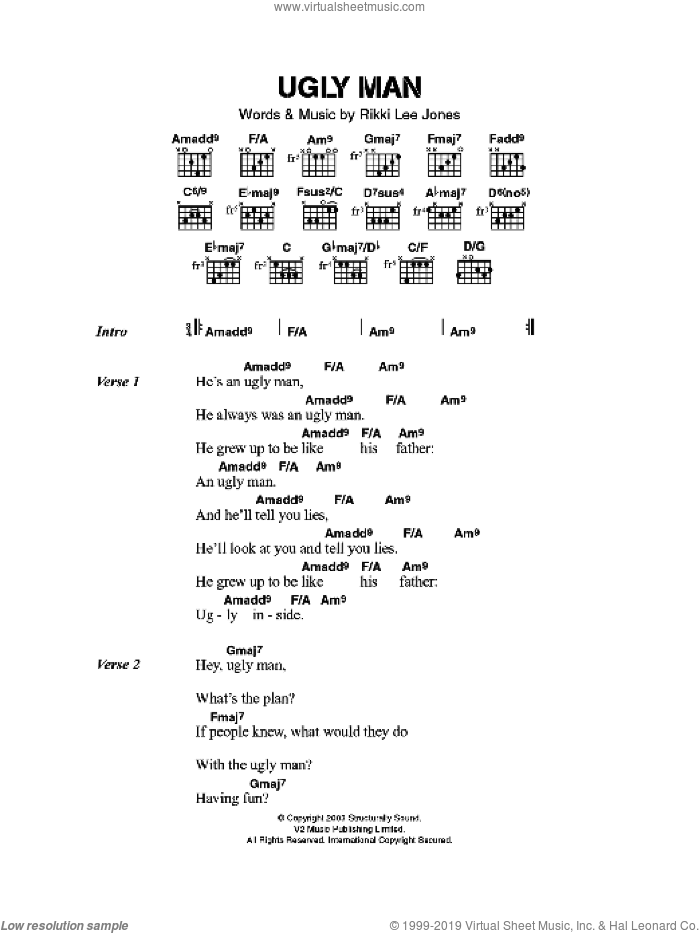 Ugly Man sheet music for guitar (chords) by Rickie Lee Jones, intermediate. Score Image Preview.