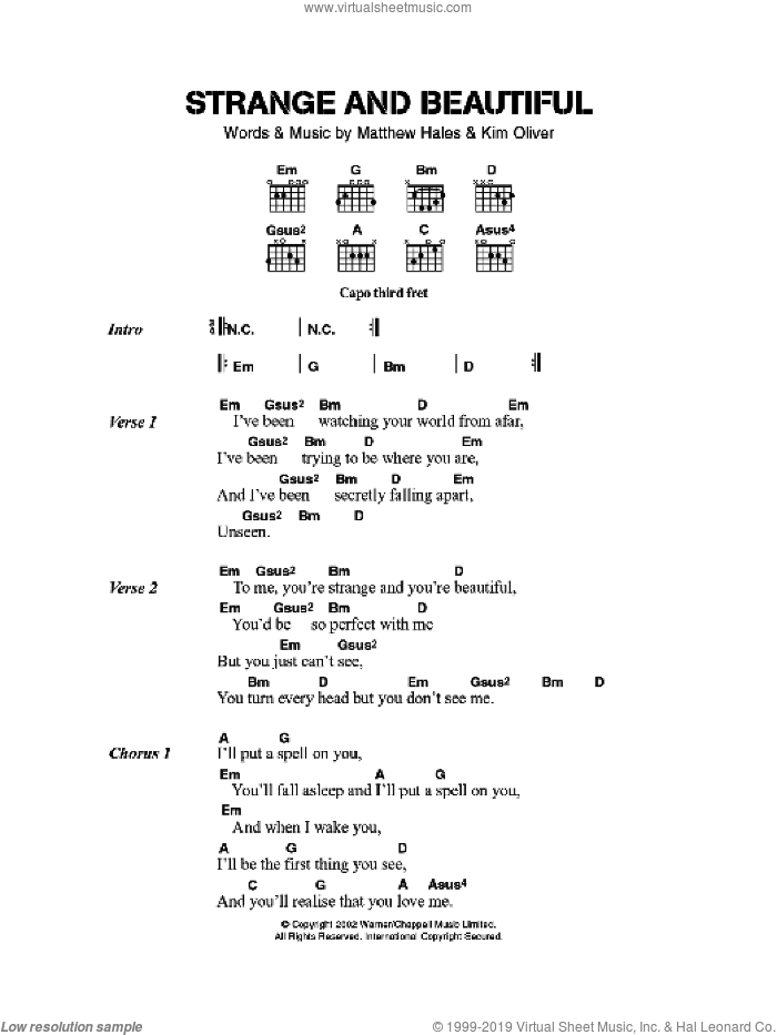 Strange And Beautiful sheet music for guitar (chords) by Aqualung, Kim Oliver and Matthew Hales, intermediate skill level