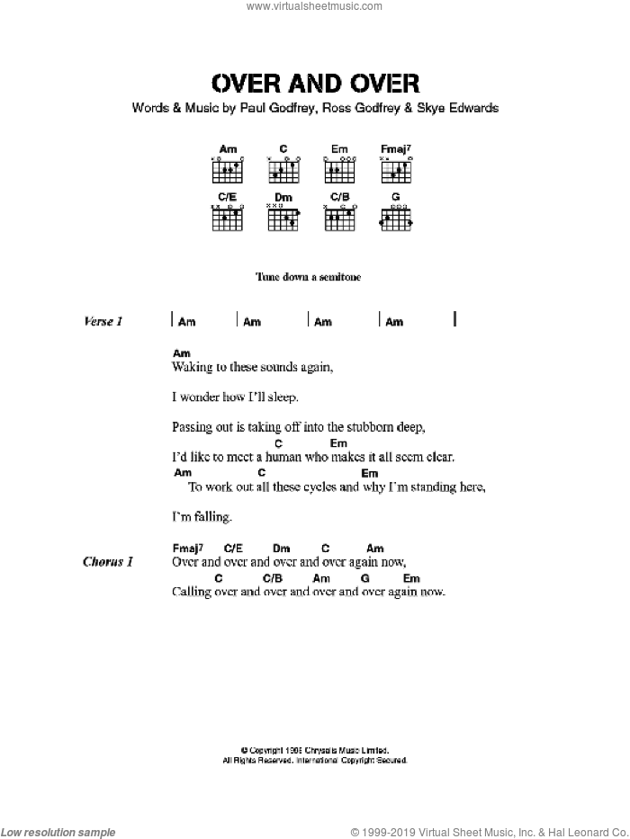 Over And Over sheet music for guitar (chords) by Paul Godfrey, Morcheeba and Skye Edwards. Score Image Preview.