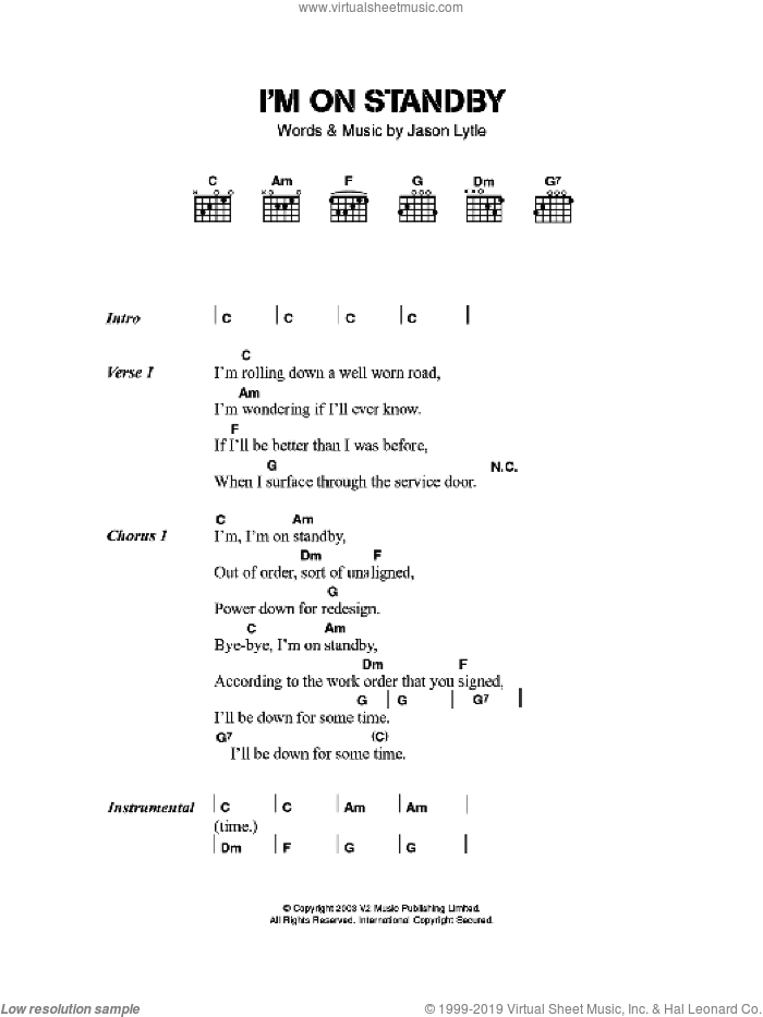I'm On Standby sheet music for guitar (chords) by Grandaddy. Score Image Preview.