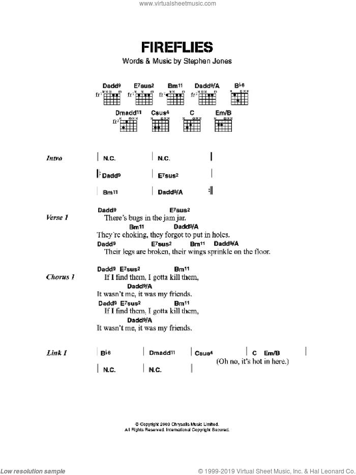 Fireflies sheet music for guitar (chords) by Babybird and Steve Jones, intermediate skill level