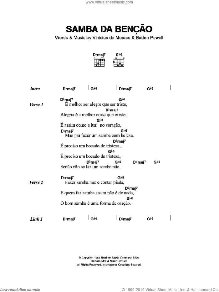 Samba da Bencao sheet music for guitar (chords) by Baden Powell