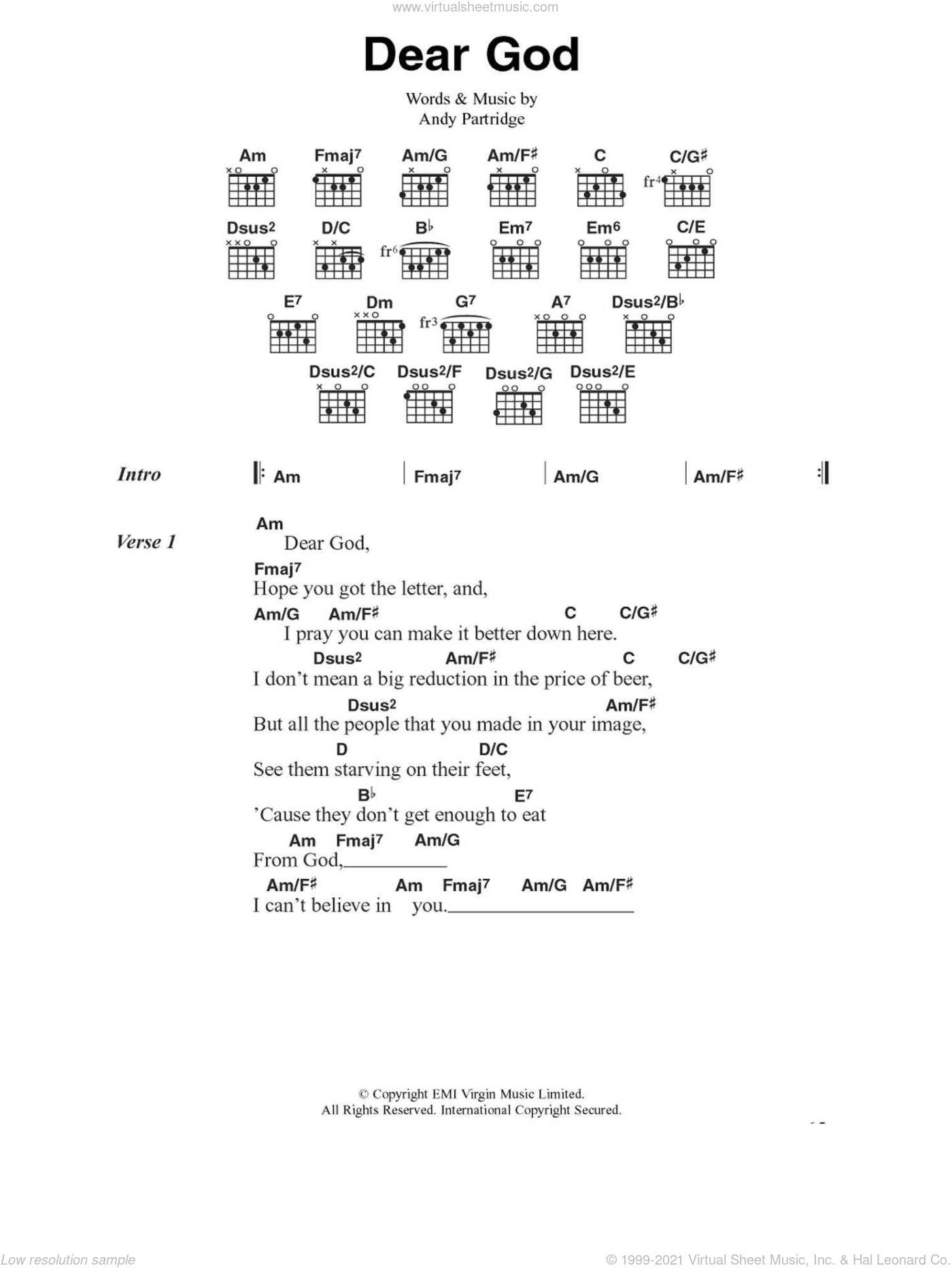 Dear God sheet music for guitar (chords) by XTC and Andy Partridge, intermediate skill level