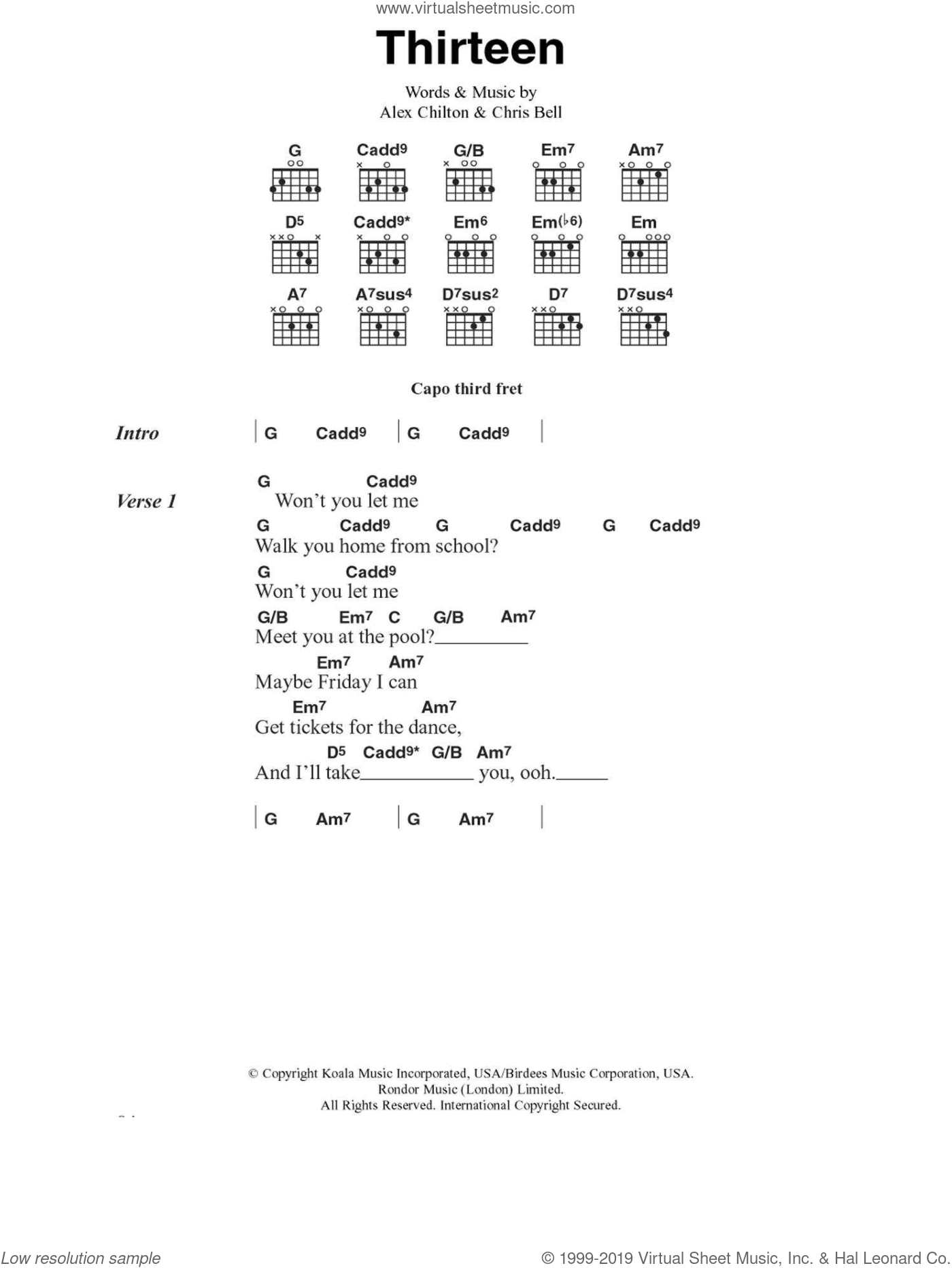 Thirteen sheet music for guitar (chords) by Big Star, Alex Chilton and Chris Bell, intermediate skill level
