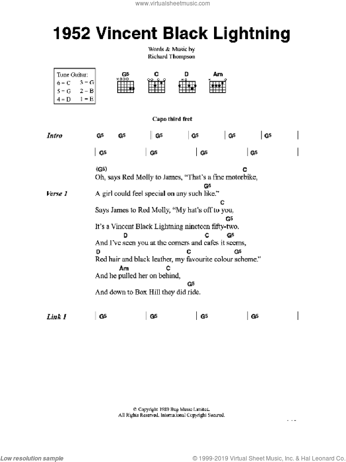 1952 Vincent Black Lightning sheet music for guitar (chords) by Richard Thompson, intermediate skill level