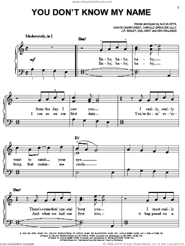 You Don't Know My Name sheet music for piano solo (chords) by Kanye West