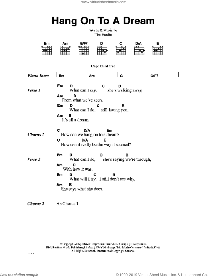 Hang On To A Dream sheet music for guitar (chords) by Tim Hardin. Score Image Preview.