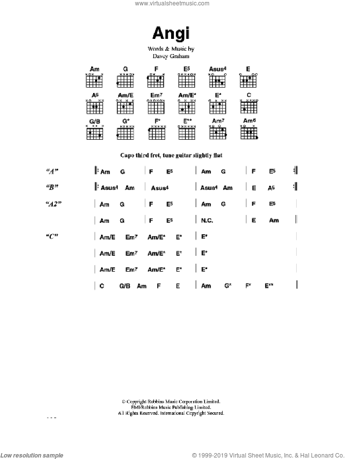 Angi sheet music for guitar (chords) by Davey Graham. Score Image Preview.